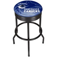NHL Black Ribbed Bar Stool - Vancouver Canucks