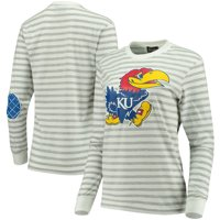 Kansas Jayhawks Women's Elbow Patch Striped Long Sleeve T-Shirt - Heathered Gray/White