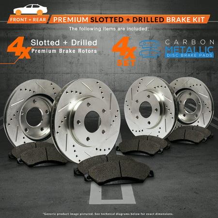 Max Brakes Front & Rear Performance Brake Kit [ Premium Slotted Drilled Rotors + Metallic Pads ] TA038433 | Fits: 2005 05 Hyundai Sonata 4 Cylinder Models After Feb 2005 - image 7 de 8