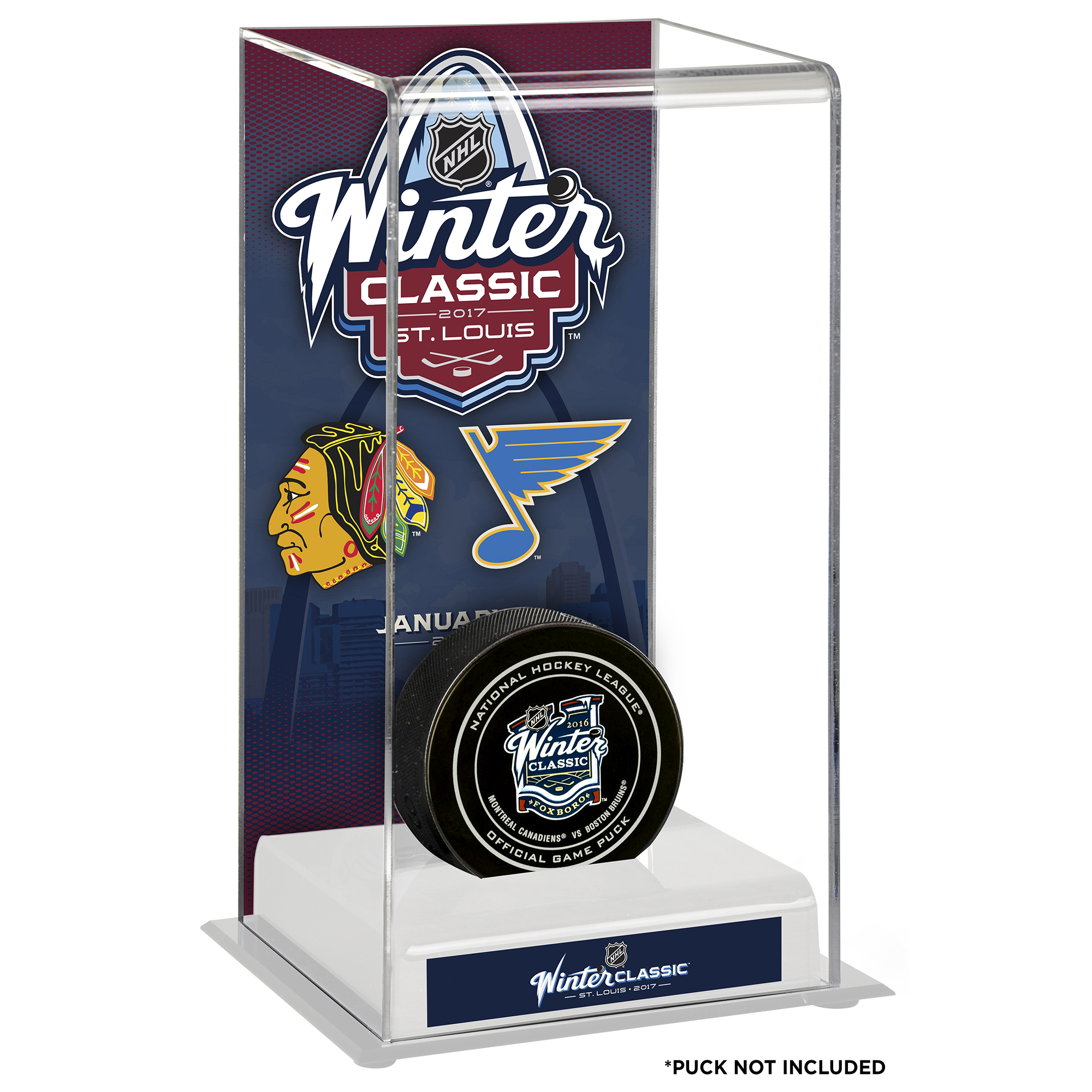 Fanatics Authentic 2017 NHL Winter Classic Chicago Blackhawks vs. St. Louis Blues Deluxe Tall Hockey Puck Display Case... by Fanatics Authentic