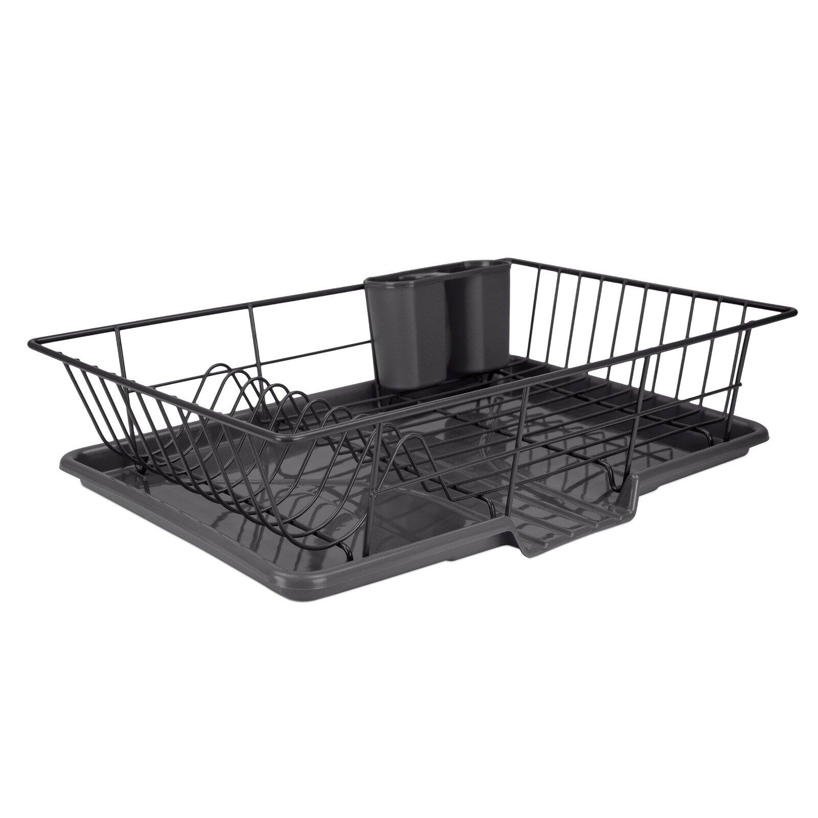 Home Intuition 3-Piece Dish Drying Rack Drainer Set 17 x 13.75 x 5 Black