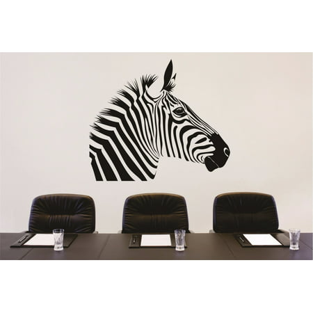 "Custom Wall Decal Sticker : Zebra Head Zoo Animal Print 12x18"""