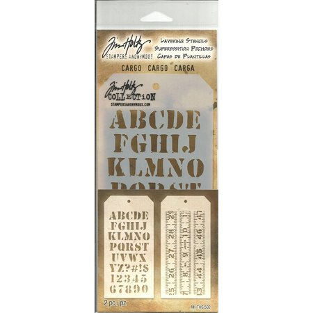 Tim Holtz Layering Stencils Duo Pack ~ Cargo & Measured!!!, This item is used for Scrapbook, Card Making, Paper Crafting & Mixed Media. By