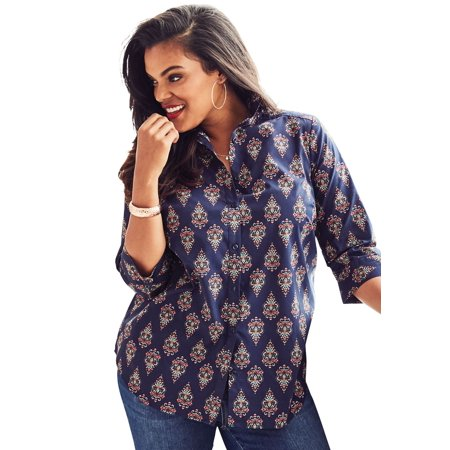 92da973e7e0 Roaman s - Plus Size Three-quarter Sleeve Kate Shirt - Walmart.com