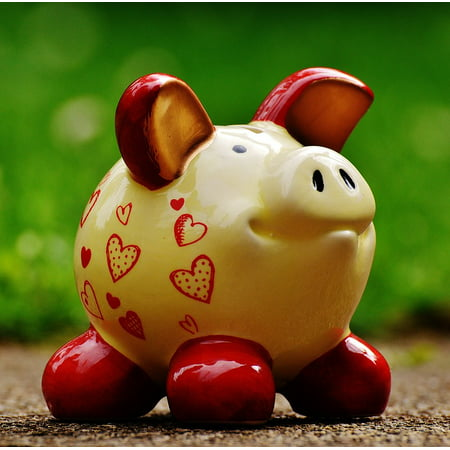 Laminated Poster Save Ceramic Piggy Bank Funny Savings Bank Heart Poster Print 24 X 36