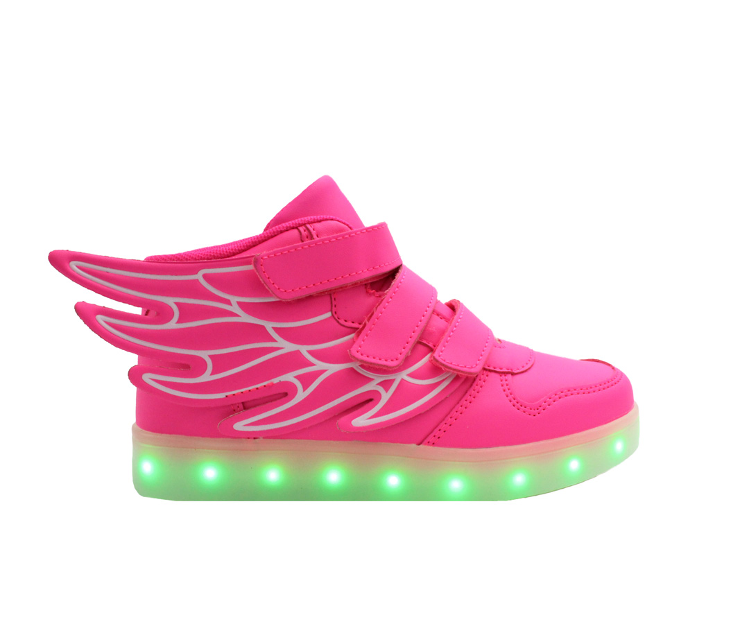7 Colors Boys Girls Kids USB High Top LED Light Up shoes Luminous Sneakers shoes