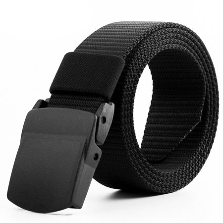 125CM Men's Military Tactical Nylon Belt Men's Military Webbing Riggers Web Belt with Automatic Buckle Color:Black