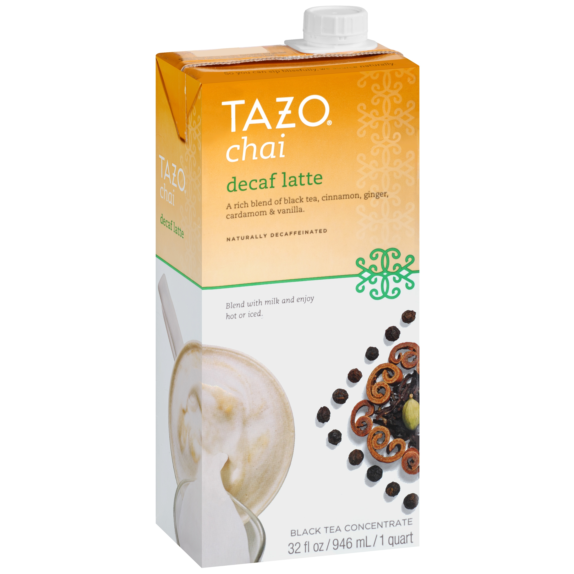 Tazo Chai, Spiced Black Tea Latte Concentrate, Ounce Containers Pack of 4 See more like this Tazo Chai Tea Latte Concentrate 32 oz, 1 quart - Pack of 3 by TAZO Brand New.