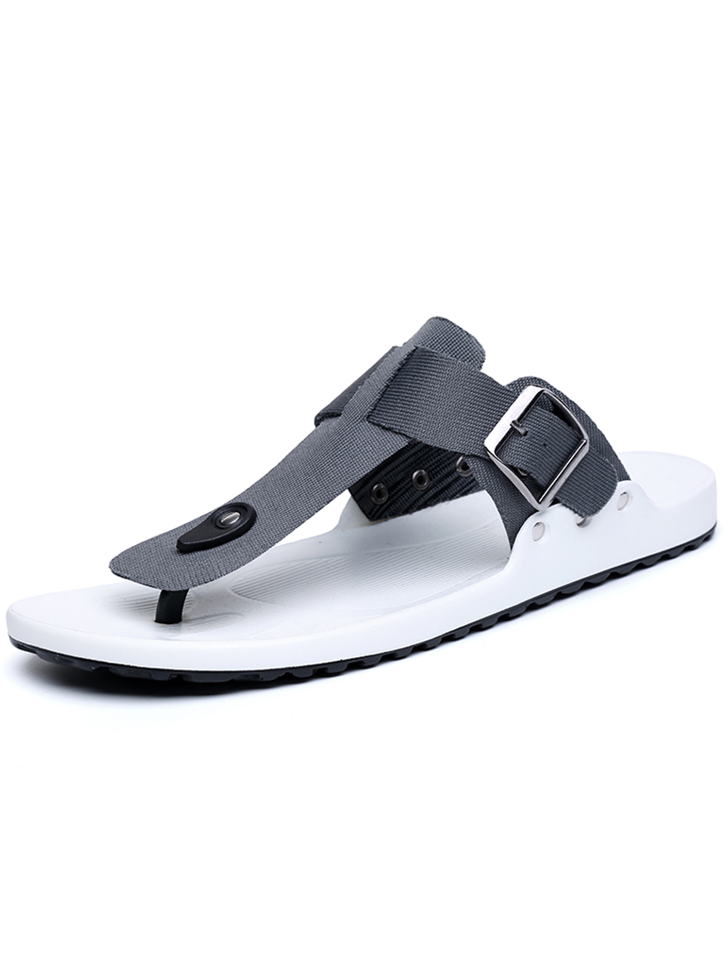 Men thong Flip Flop Flat Casual Sandals with Buckle Strap for Men