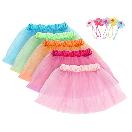 Girls Princess Tutu Skirts Set fedio 5 Pack kids Ballet Tutu Costume Dress with 5Pcs Flower Hair Ties(Ages 3-8)