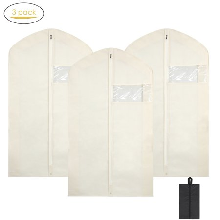 Garment Bags with Shoe Bag, Magicfly 42 Inch Breathable Dress/Suit Covers with Clear Window, Full Zipper Suit Bag Beige ()