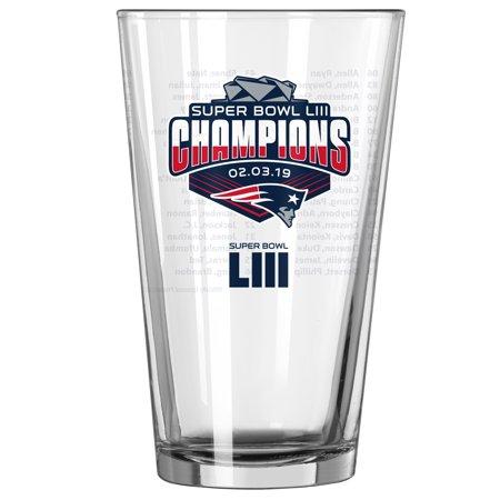 New England Patriots Super Bowl LIII Champions 16oz. Roster Pint Glass - No - Champions Pint Glass