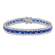 Miabella 28 1/2 CT TGW Created Blue and White Sapphire Tennis Bracelet in Sterling Silver
