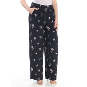 VINCE CAMUTO Womens Black Floral Wide Leg Wear To Work Pants  Size: 6