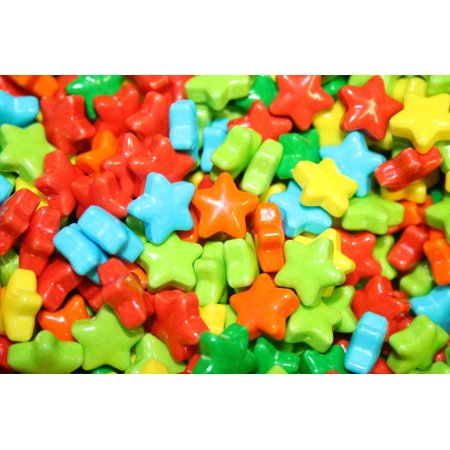BAYSIDE CANDY NEON STARS CANDY 825 COUNT, 1LB - Star Shaped Candy