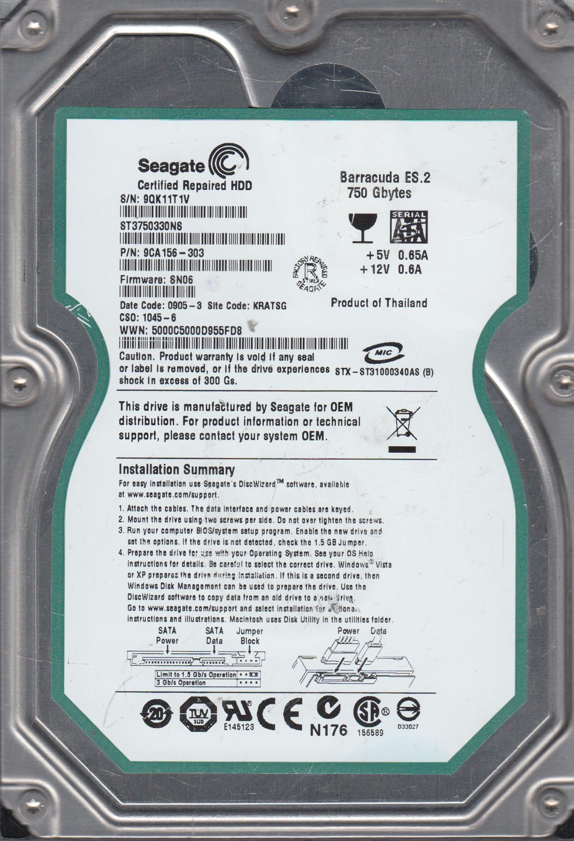 ST3750330NS, 9QK, KRATSG, PN 9CA156-303, FW SN06, Seagate 750GB SATA 3.5 Hard Drive by Seagate