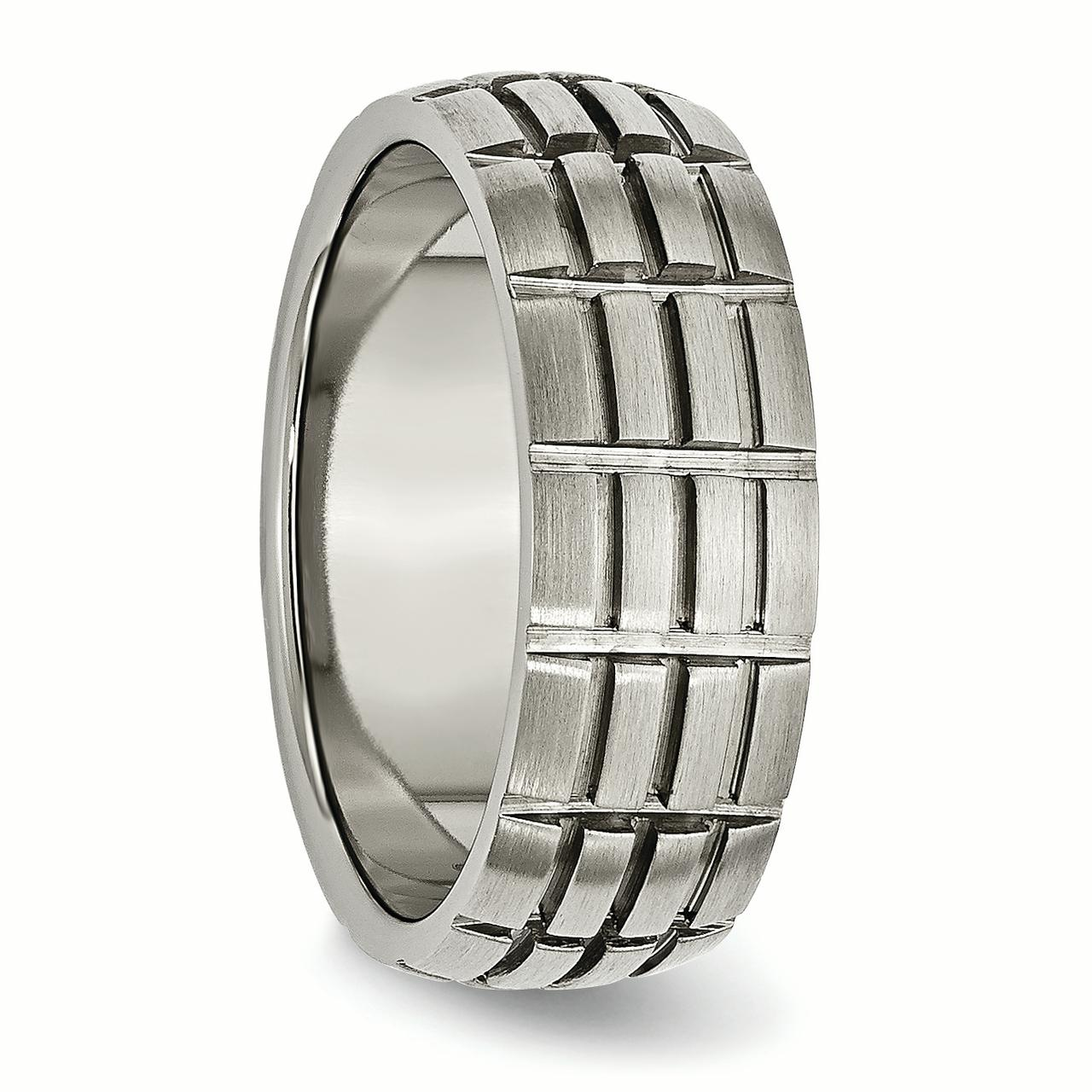 Titanium Notched Grooved 8mm Wedding Ring Band Size 11.00 Fashion Jewelry Gifts For Women For Her - image 4 of 6