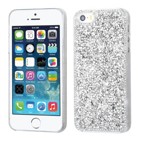 INSTEN  Silver Hard Snap-on Rhinestone Bling Case Cover For Apple iPhone 5/ 5S/ SE ()