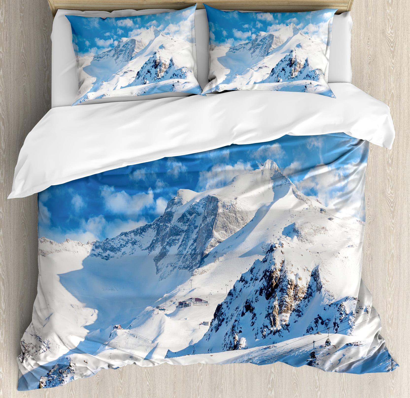 Lake House Decor Queen Size Duvet Cover Set, Mountain Landscape Ski Slope Winter Sport Telfer and Snowboarding IMage, Decorative 3 Piece... by Kozmos