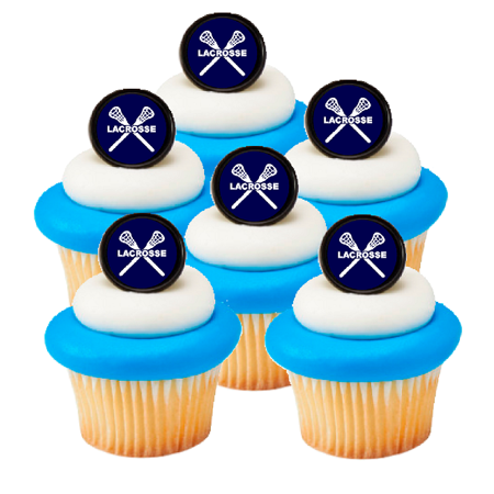 Lacrosse Easy Toppers Cupcake Decoration Rings -24pk Toppers (Lacrosse Decorations)