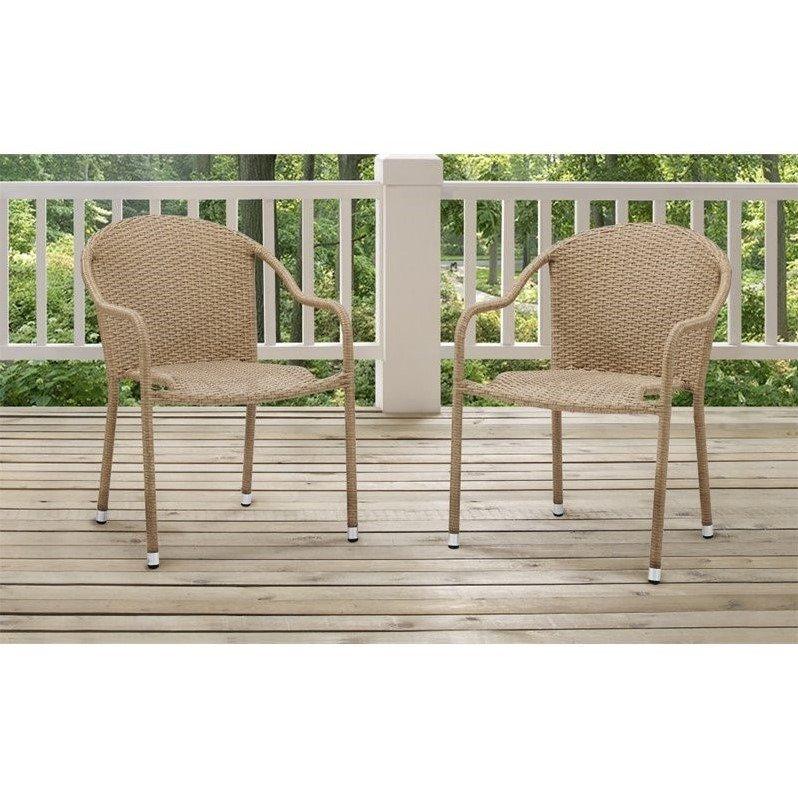 Crosley Palm Harbor 3 Piece Outdoor Wicker Chair Set in Beige - image 1 de 1
