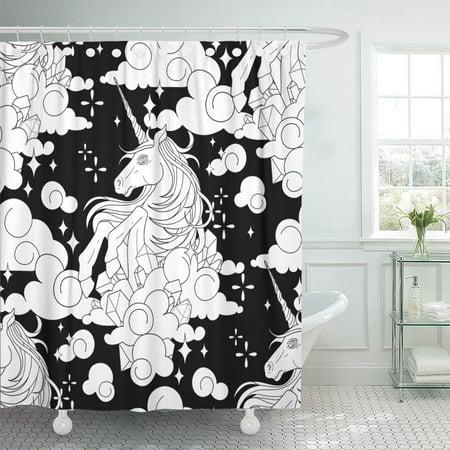 YUSDECOR Cute Unicorn in The Sky Fantasy Drawn Line Coloring Bathroom Decor Bath Shower Curtain 66x72 inch - image 1 of 1