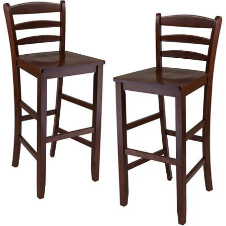 Ladder Back Solid Wood Counter Stools  Set Of 2