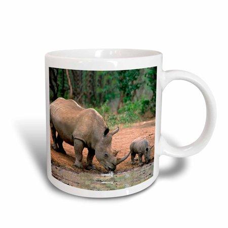 3dRose Black Rhino, Rhinoceros, Ceramic Mug, 11-ounce