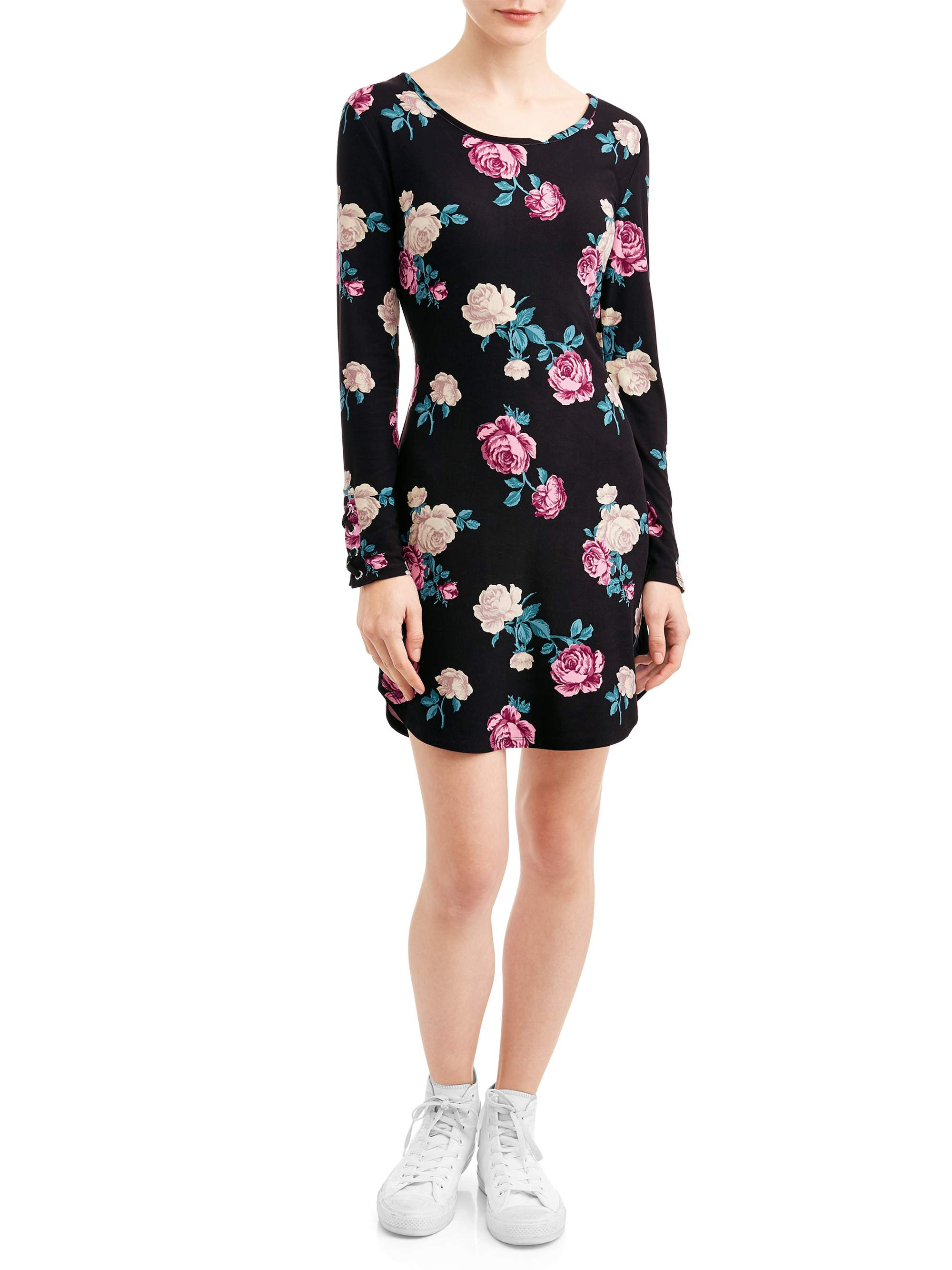 No Boundaries Juniors' Yummy Long Sleeve Dress with Cage Detail