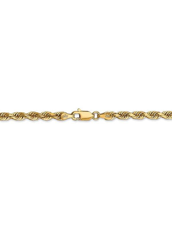 10K Yellow Gold 2.25 MM Diamond-cut Quadruple Rope Anklet Bracelet