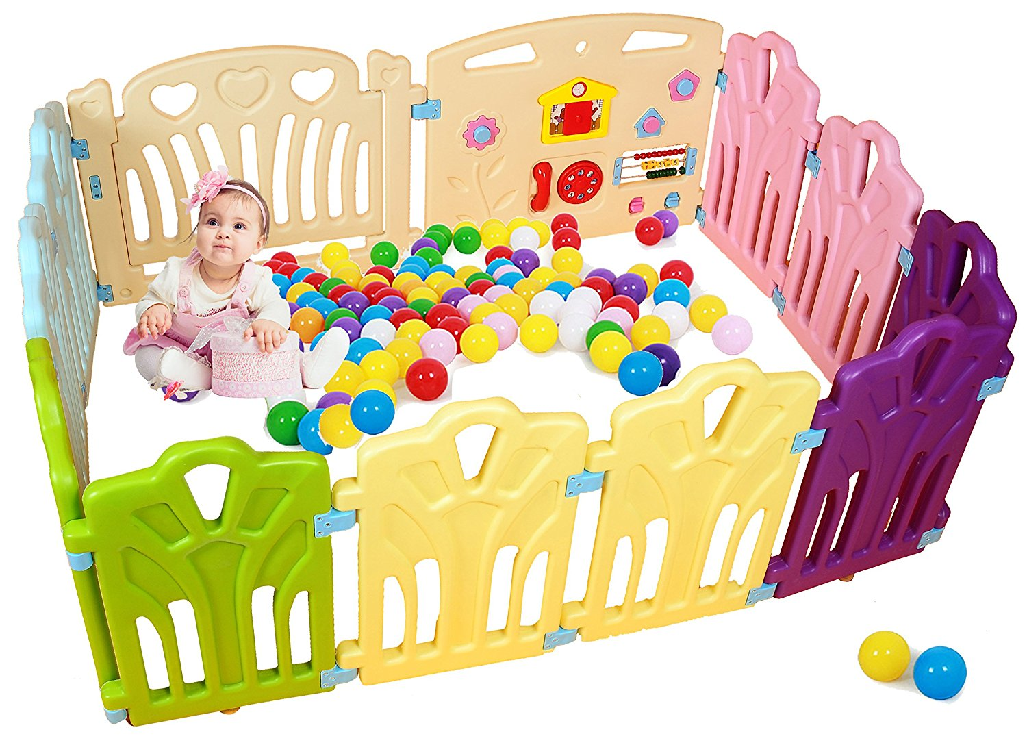 Baby Playpen Kids Activity Centre Safety Play Pen Home Indoor Outdoor Portable Pen (multicolour, Classic set... by PENSON %26 CO.