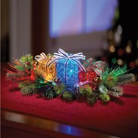Collections Etc Lighted Gift Box Floral Christmas Centerpiece