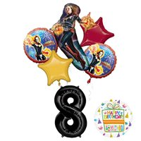 Mayflower Products Captain Marvel Party Supplies 8th Birthday Balloon Bouquet Decorations
