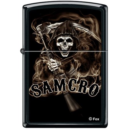 Anarchy Zippo Lighter - Zippo SOA Sons of Anarchy SAMCRO Reaper Black Matte Windproof Lighter RARE