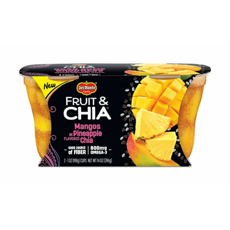 (4 Cups) Del Monte Fruit & Chia Mango in Pineapple Flavored Chia, 7 oz cups Del Monte Pineapple