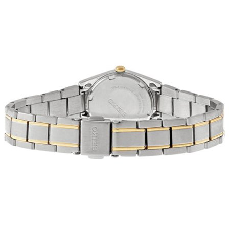 Best Seiko Womens Solar Analog Stainless Watch - Two-tone Bracelet - Blue Dial - SUT110 deal