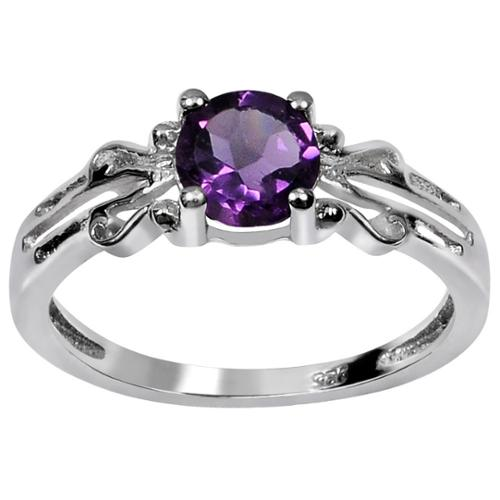 Orchid Jewelry Mfg Inc Orchid Jewelry Sterling Silver Genuine Round-cut Amethyst Ring