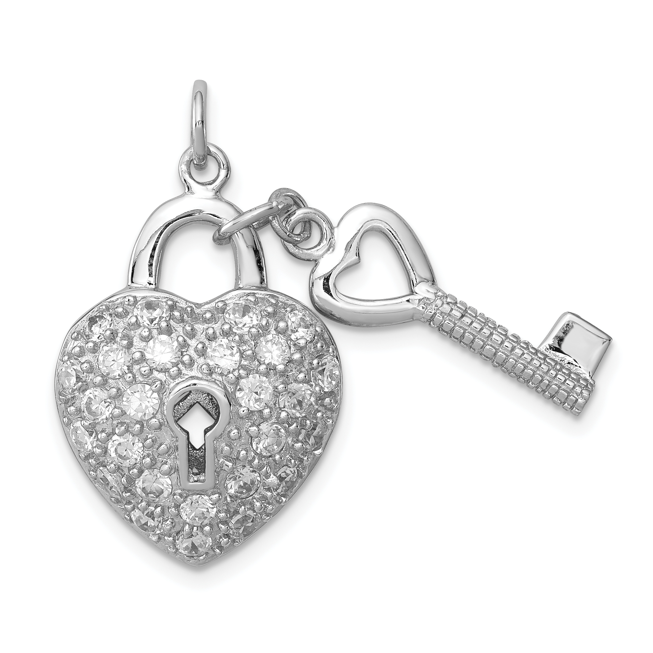 925 Sterling Silver Rhodium Plated Cubic Zirconia Heart Key Pendant