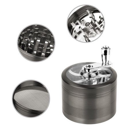"GPCT [Stainless Steel] Herb Spice Grinder W/ Hand Cranked Mill. 2.5"" Tall, 4 Pieces, 3 Chambers, 6 Blades/Sharp Teeth, Pollen Catcher/Scraper. Durable Zinc Alloy Magnetic Top - Dark Grey (Large 4 Piece Grinder)"