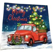 """Christmas Tree Truck Pillow Cover - 18"""" x 18"""", Festive Pillowcase, Red Pick Up Truck, Christmas Lights, Living Room Couch Decoration, Home Decor, Classroom, Office, Winter Decoration"""