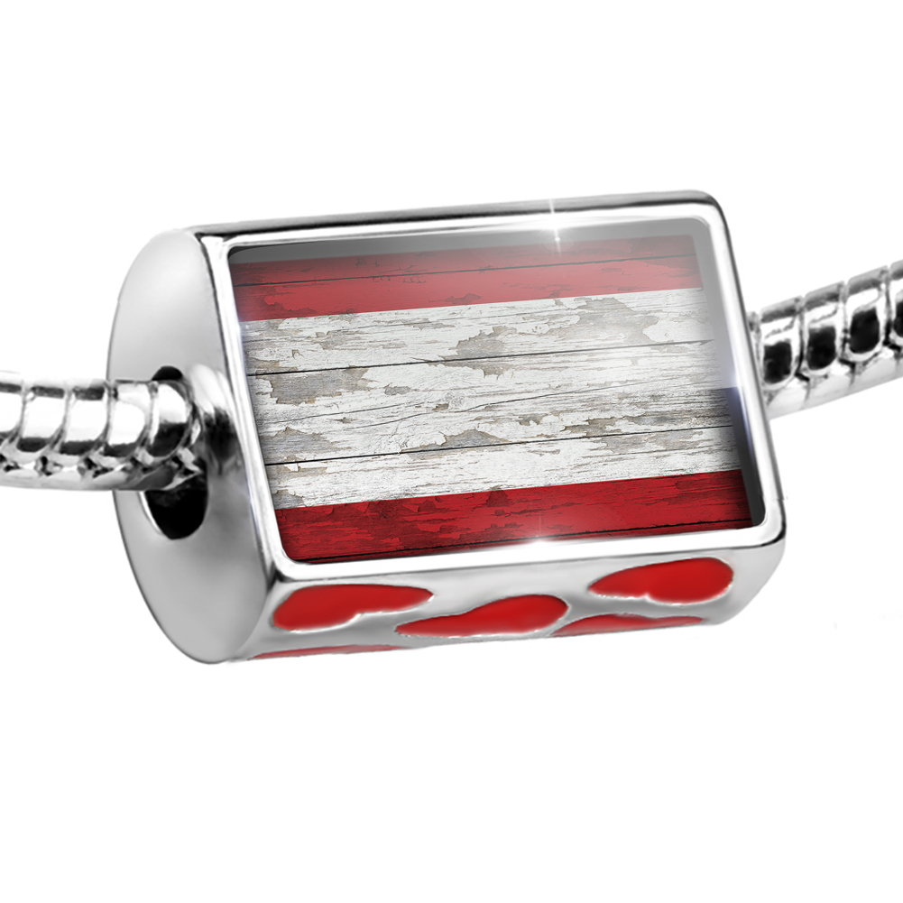 Bead Flag on Wood Antwerp Charm Fits All European Bracelets