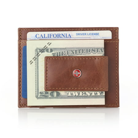 Alpine Swiss Mens Leather Magnet Money Clip Front Pocket Wallet Thin Card Case