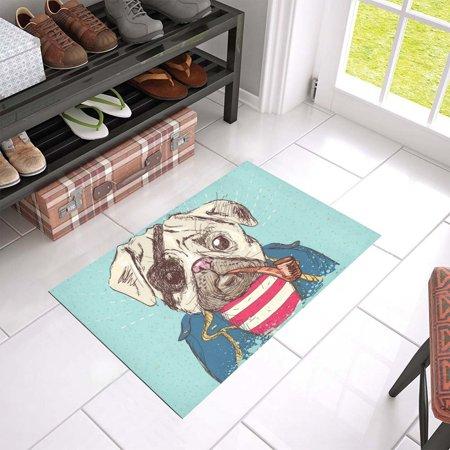 MKHERT Pirate Pug Dog Doormat Rug Home Decor Floor Mat Bath Mat 23.6x15.7 inch
