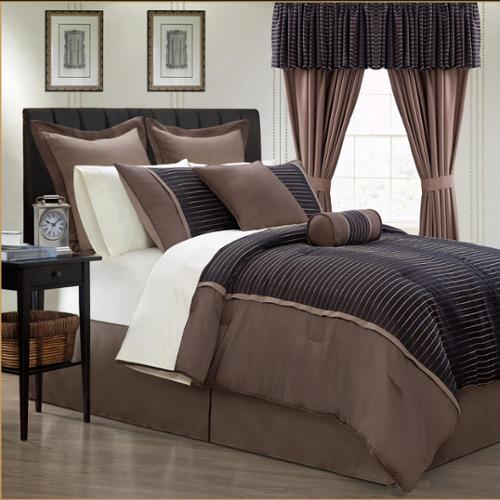 Limbo 24-piece Brown Contemporary Bed in a Bag with Sheet Set Cal King
