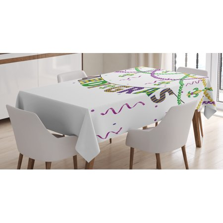 Mardi Gras Tablecloth, Festive Decorations with Fleur De Lis Icons Hanging From Colorful Beads, Rectangular Table Cover for Dining Room Kitchen, 52 X 70 Inches, Purple Green Yellow, by Ambesonne - Mardi Gras Tablecloth