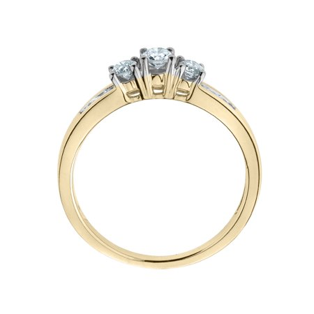 Three Stone Diamond Engagement Ring 1/2 Carat (ctw) in 10K Yellow Gold - image 1 de 2