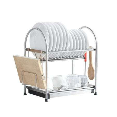 NEX Stainless Steel 2-Tier Dish Draining Rack With Draining Pan, Adjustable, Cutting Board Holder, Large and Spacious (NX-D002) ()