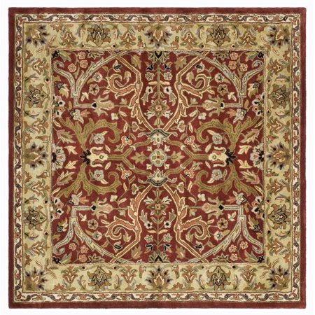 Square area rug in red and gold 6 ft l x 6 ft w for Red and gold area rugs