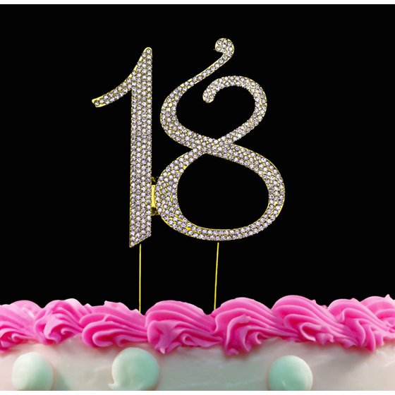 18th Birthday Cake Toppers Crystal Topper 18 Gold