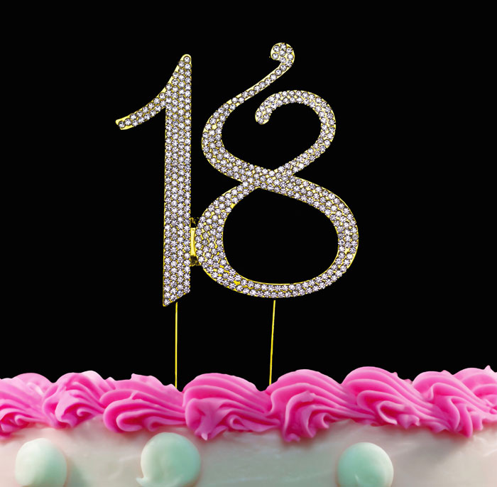 18th Birthday Cake Toppers Crystal Cake Topper 18 Gold